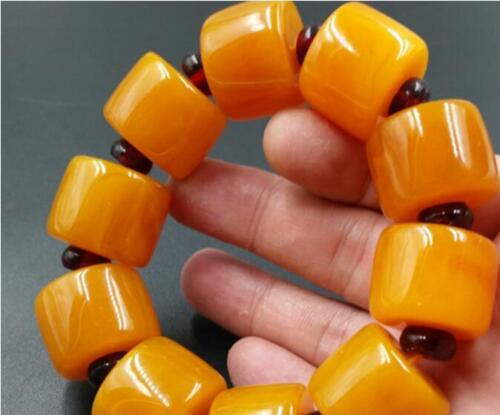 BEAUTIFUL BALTIC AMBER old Beeswax big size Bracelet 5A 2