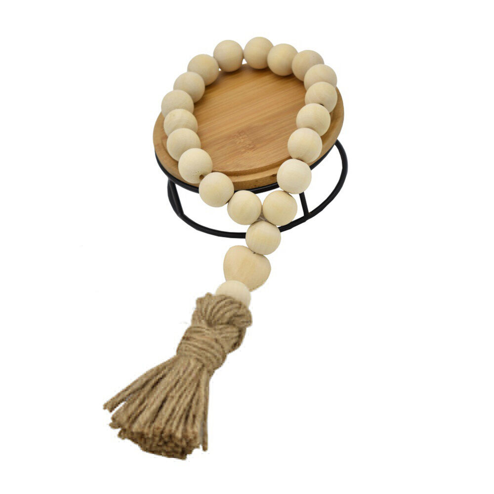 WR_ Nordic Heart Wooden Beads Tassels Hanging Ornament Home Wall Decoration Myst 6