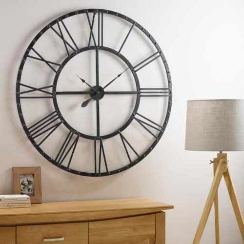 60Cm Extra Large Roman Numerals Skeleton Wall Clock Big Giant Open Face Round Eo 3