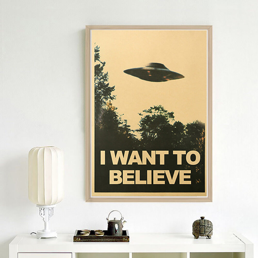 CN_ 50.5x35cm I Want To Believe Vintage UFO Painting Poster Wall Home Decor Ar 4