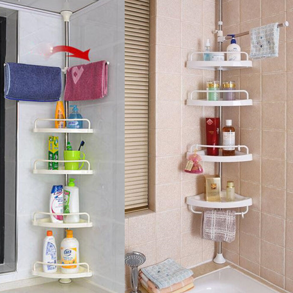 NEW BATHROOM Bathtub Shower Caddy Holder Corner Rack Shelf Organizer ...